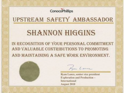 ConocoPhillips Award Shannon Higgins for Safety Focus